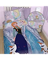 Disney Frozen Reversible Elsa Anna and Olaf Single Bed Set- Duvet Cover and Pillow Case