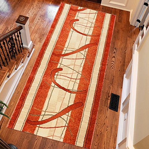 "Modern Orange Rug Hall Runner With Mosaic Pattern S - XXL 90 x 500 cm (2ft11"" x 16ft5"")"