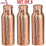 #9: SDO™ Copper Bottle (Set of 3) Pure Copper Hammered Dotted Yoga Water Bottle, World's First Handmade, Joint Free, Leak Proof, Travel Purpose and for Ayurvedic Health Benefits (1000 ML)