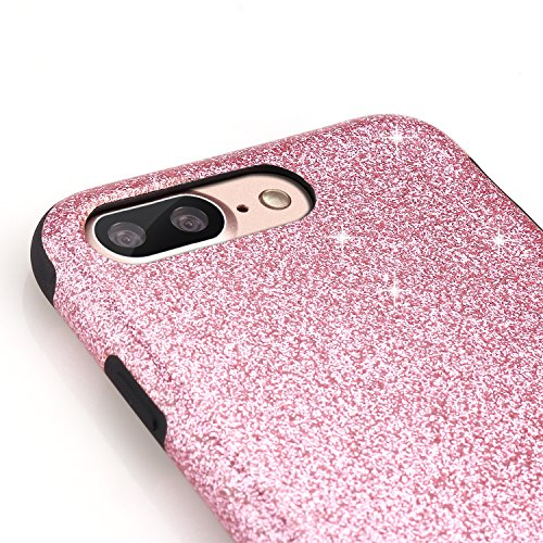 iPhone 7 Plus Hülle, TENDLIN Luxury Hybrid Glitzer Bling Kristall [Exakt-Anpassen] Weiches TPU Glänzend Glitzer Schönheit Hülle für iPhone 7 Plus (Schwarz) Rosa