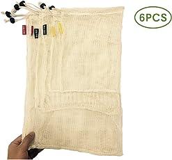 Woo Well Wiederverwendbare Obst- und Gemüsebeutel,Baumwolle Umweltfreundlich Einkaufsnetze .Gut Aussehende mesh atmungsaktive einkaufstaschen, 6 Stück - 2X S, 2X M, 2X L