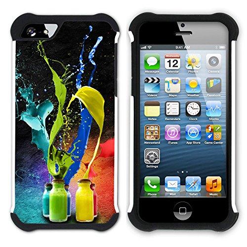 Graphic4You Farbpalette Gemälde Malerei Kunst Farben Hart + Weiche Kratzfeste Hülle Case Schale Tasche Schutzhülle für Apple iPhone SE / 5 / 5S Design #24