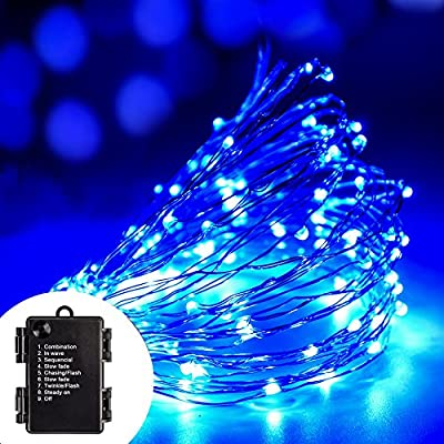 Volador 8 Mode Copper Wire String Light, 33ft/10m 100 LED Flexible Copper Wire Starry String Light, Battery Operated Waterproof Light for Outdoor, Gardens, Homes, Patios, Christmas Party - Warm White from Volador Technology Co.,Ltd