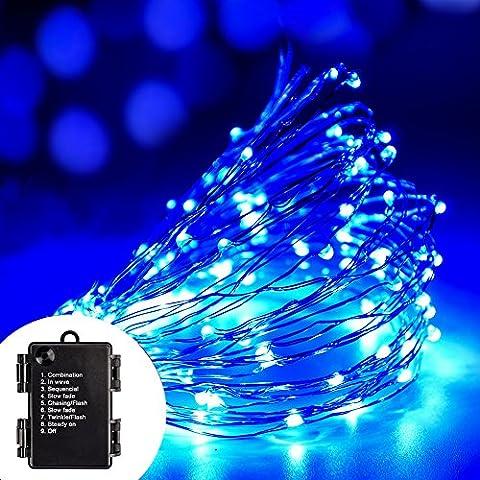 LED Copper Wire Light Volador mode étanche LED 8 cordes Lumière 33ft / 10m 100 LED flexible fil de cuivre Guirlande lumineuse étanche pour Wedding Garden Festival Christmas Party Arbre DIY Décoration -bleu