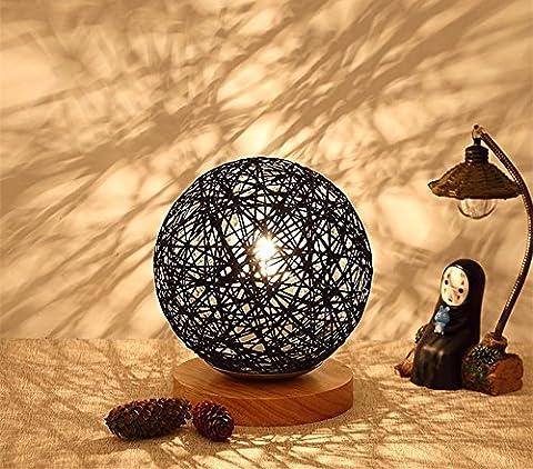 LikeIt Tischlampe Handgefertigte Rattan-gewebt für Schlafzimmer Wohnzimmer LED Nacht Nachttischlampe, schwarz