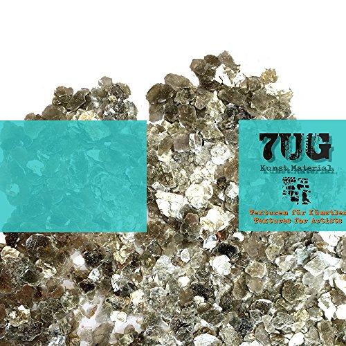 7UG Glimmer/Mica Flakes: mineralisches Effektmaterial zum Mischen mit Acrylbinder oder Gelmedium. Glänzende Texturen für Mixed Media Künstler