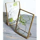 """Art India Collections Decorative Table Photo Frame 4x6"""", Diwali Gifting Photo Frame, Brass and Glass Standing Frame"""
