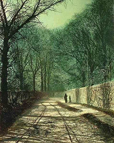 Baum Schatten an der Wand Park, Hemd Roundhay Park, Leeds–von John Atkinson Grimshaw–sku4999, metall, multi, 150mm x 100mm