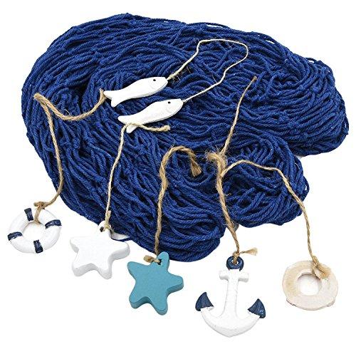 Machen Net (Nautical Dekorative Net mit 6 Zubehör 150*200cm Mediterranen Stil Fischerei Netz Deko für Hintergrund Wand Bar Hause Restaurant Hochzeits Partei or als Geschenk (Blau))