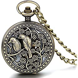 JewelryWe Vintage Bird Follow Half Hunter Skeleton Mechanical Movement Pocket Watch Pendant with Chain