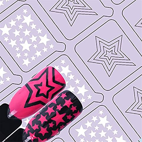 NICOLE DIARY 1Sheet Nail Vinyls Adhesive Star Muster Nail Art Hollow Schablone Aufkleber Nail Art Dekoration