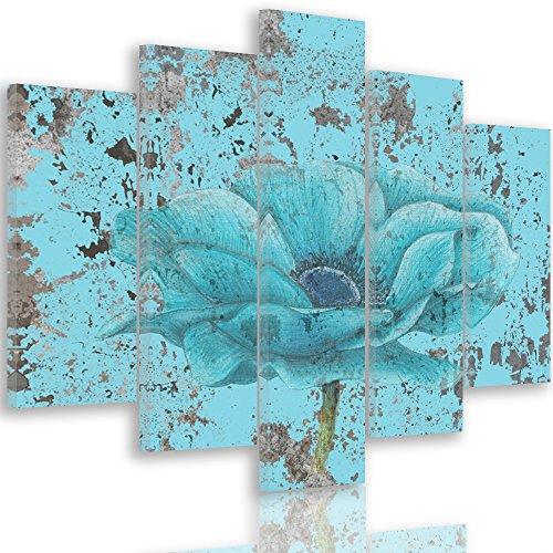 Feeby Frames, Cuadro en lienzo - 5 partes - Cuadro impresión, Cuadro decoración, Canvas Tipo A, 100x150 cm, FLORES, NATURALEZA, AZUL, ARTE, COLOR, VINTAGE