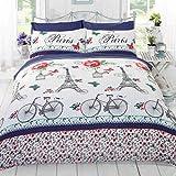 Homespace Direct C 'est La Vie Paris Bettbezug Quilt Betten Set, blau, King Size (Blumen, Schmetterlinge, Pink, Eiffelturm, Fahrräder)