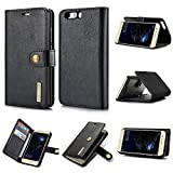 For Cell Phone Protective Cases, for Huawei P10 Plus case,Retro Luxury Split Type Detachable Design Magnetic Flip PU Leather Case Cover with Stand & Card Slot (Color : Black)