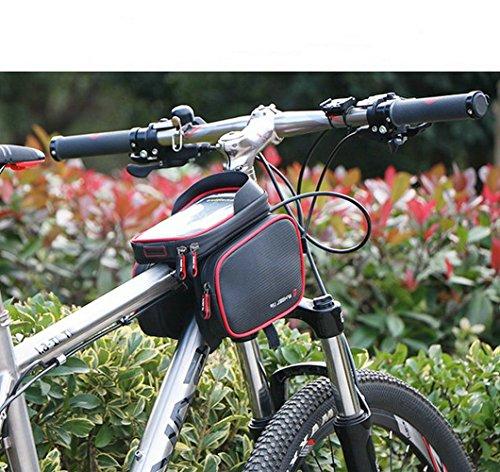 GuDoQi 6.2 Zoll Fahrradbeutel Wasserdicht Mit Touch Screen Auf Radfahrrad Frontrahmen Blau
