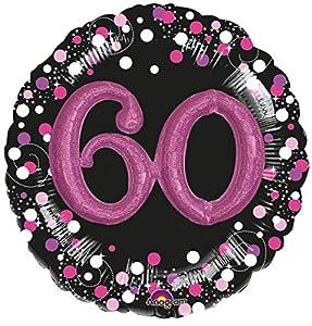 Amscan International 3597901 - Globo de Papel de Aluminio, 60 cumpleaños, Color Rosa Brillante