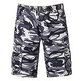 LuckyGirls Pantalones Hombres Cortos Secado Rápido Camuflaje Originales Pantalón Suelto Slim Fit Casuales Playa Pantalones (Gris,36)