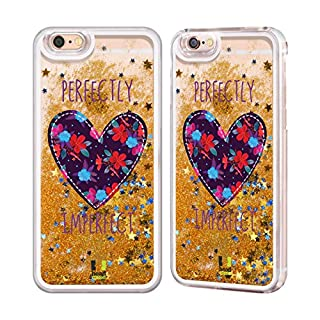 Head Case Designs Floral Heart Patches Gold Liquid Glitter Case Cover for Apple iPhone 6 / 6s