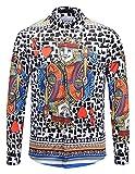 Pizoff Herren barock Palace Hemden - Luxus Still Fashion Langarm Hemd Tops mit golden floral Druckmuster Poker König AL082-10-S