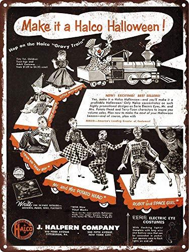 HALEY GAINES Make It A Halco Halloween Metall Blechschilder Dekoration Retro Stil Schild Vintage Aluminium Poster Original Wandkunst Für Bar Cafe Küchen Garagen 20×30cm