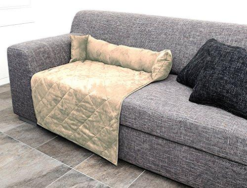 Hundesofa Sofaüberwurf für Hunde Katzen mit Kissen Farbe beige