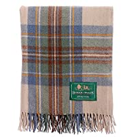 New Scottish Wool Tartan Knee Rug - Muted Blue Stewart