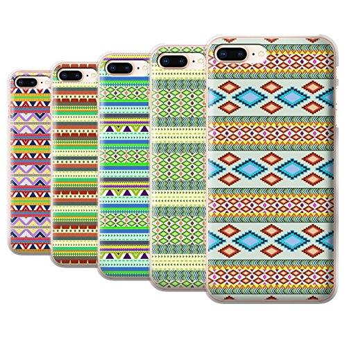 Stuff4 Hülle / Case für Apple iPhone 8 Plus / Grün Muster / Aztekische Stammes Muster Kollektion Pack 5pcs