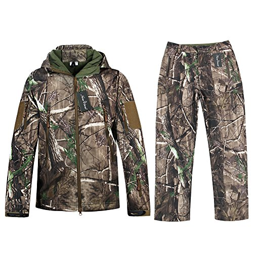 Camouflage Jacke New View Outdoor Wasserdicht Windproof Fleece Kapuzen Jagd Fischen Jagdbekleidung und Hosen (L, Camouflage)