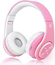 Kinder Bluetooth Kopfhörer, 85 dB Volumen begrenzt Kabellos Kabelgebunden Faltbar Stereo über Ohr-Kopfhörer für Mädchen, Leicht Kinder Ohrhörer mit eingebautem Mikrofon für Hände Frei -Hell-Rosa