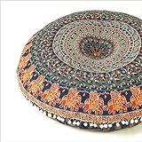 """Futuro Hecho a mano 32""""pulgadas redondo puf infantil cojín diseño indio Mandala puf infantil cojín de decoración para el hogar de flores, 100% algodón, multicolor, Design 7"""