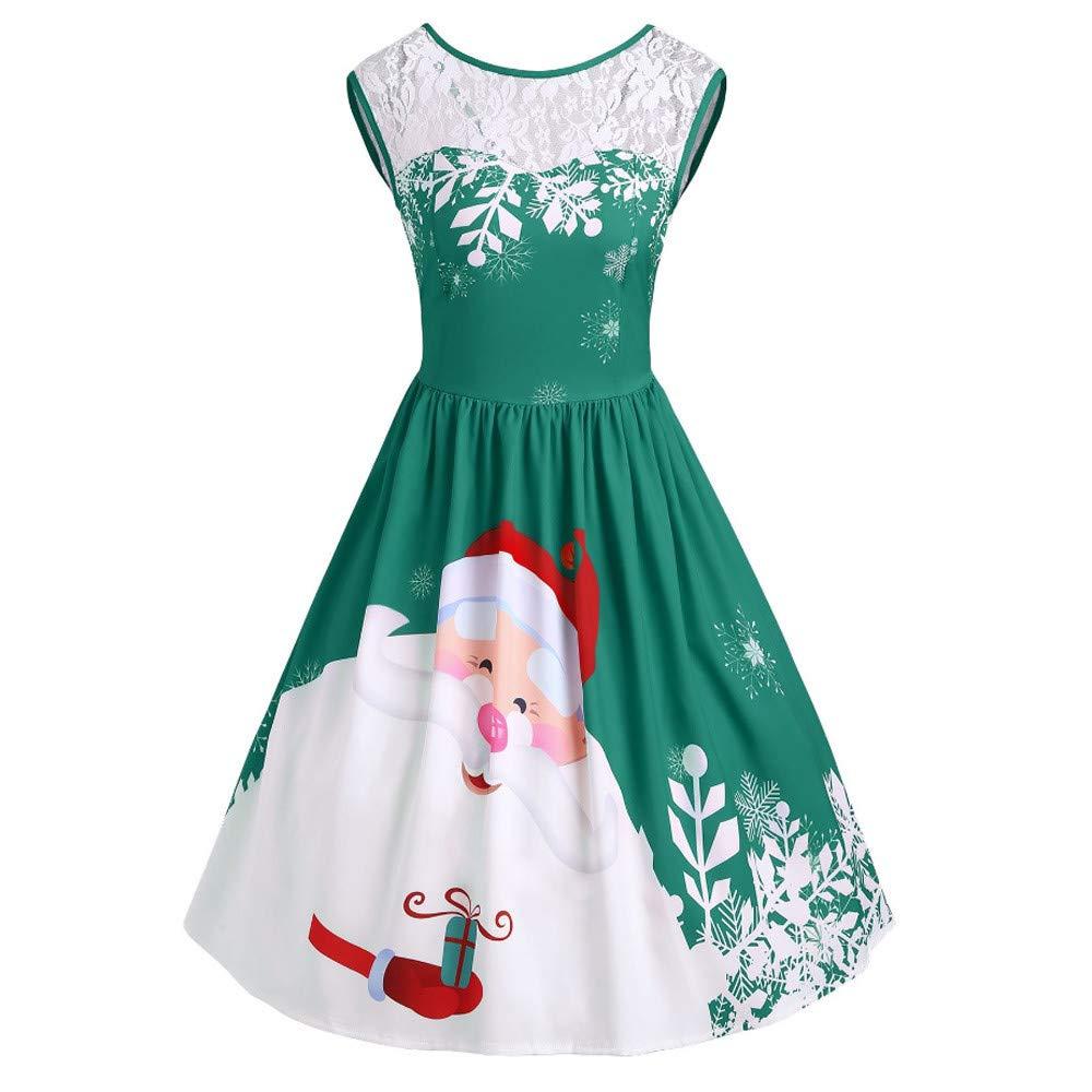 23d0e457e9c3 Vestiti Donna Natale Elegante Donna Inserto in pizzo natalizio Altalena  realizzata da festa con stampa Babbo Natale Abiti da donna Casual Abito  Donna ...