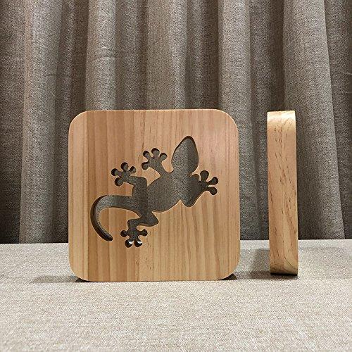 AUCD Lustige Gecko 3D Holz Lampe Warmweiß LED USB Nachtlicht Bettwäsche Dekoration Kinder Geburtstag Weihnachten Geschenk-02 (Weihnachts-gecko)