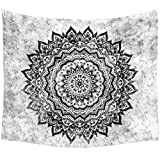 Dremisland Indian Mandala Hippy Tapestry Flower Wall Hanging Badsheet Twin Size Bedding Bedspread Picnic Beach Sheet Table Cloth Home Decorative Lotus Black and White (L/203x153cm(80x60inch))