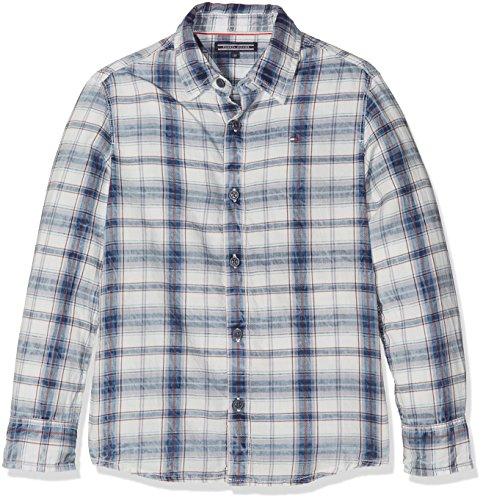 Tommy Hilfiger Jungen Hemd D Indigo Twill Check Shirt L/S, Weiß (Indigo Heather 428), 14 Jahre (Herstellergröße: 14) (Shirt Twill-jungen)