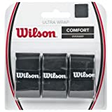 Wilson Overgrip, Ultra Wrap Overgrip, Unisex, Black, Pack of 3, WRZ403000