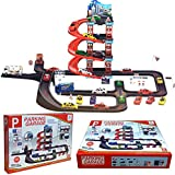 Bargain Garage play set. Three stories with ramps. With cars - 29 parts to build!