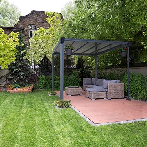 Aluminium Pavillon Überdachung Gazebo Milano 300 308x308 cm // Sommer-Pavillon und Garrtenpavillon mit 6mm Doppelstegplatten - 2