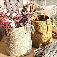 Cesta tejida de algas naturales con asas para almacenamiento, lavandería, meriendas, maceta, florero, cesta de papel y bolsa de playa, de GEZICHTA, Blanco, 19*21*25cm