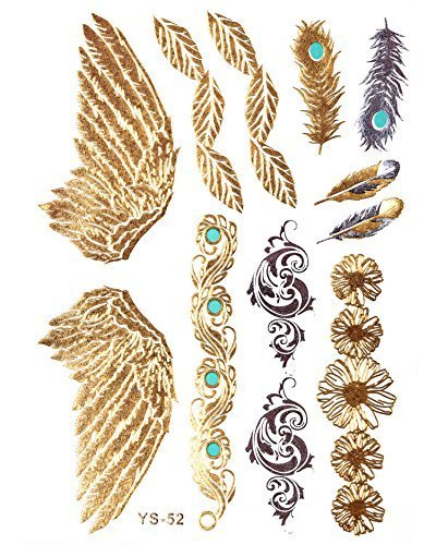GOLD Tattoo, Flash Tattoos, Haut Tattoos, Flügel, Federn, Ornamente, toller Haut Schmuck, Modeschmuck, YS-52