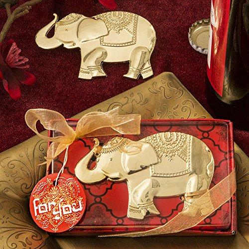 FASHIONCRAFT Abrebotellas de Metal Dorado de diseño Good Fortune Elephant