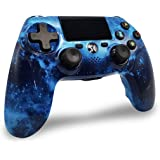Mandos PS4 Inalambricos, Controlador PS4 Inalámbrico Dual Shock Gamepad de Doble Vibración SIX-AXIS con Touch Pad y Conector