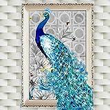 joyliveCY 5D Diamant Stickerei Bilder Rhinestone klebte DIY Malerei Kreuz Stich Tierpfau Links