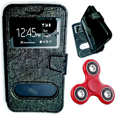 BKDT Marketing Leather finish Flip Cover Case Stand Diary Style for Xolo A600 with Dislay Window and Stand - Black with Fidget Spinner  available at amazon for Rs.399