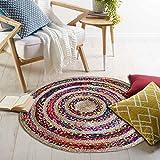 #6: The Home Talk Multicolor Cotton & Jute braided floor Rug/ Doormat/ Living room/ Drawing Room, 95 cm Round- MULTICOLOR