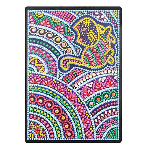 DIY 5D Diamant Mosaiken Malen nach zahlen Notebook A5, Schreiben Notizbuch Tagebuch Mädchen Skizzenbuch Erwachsene Notizblock A5 5D Full Diamant Painting Art Katze Kreative Geschenk für Weihnachten -