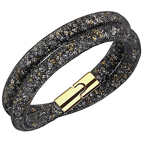 Swarovski 51841 - Braccialetto da donna in vetro, 38 cm, lega metallica, colore: nero/oro, cod. 5184180