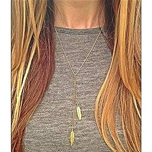 XUHAHAXL Halskette/Schmuck, Mode, Einfache Metallfeder Fransen Halskette