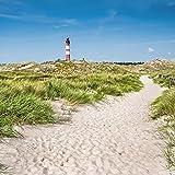 Artland Qualitätsbilder I Glasbilder Deko Glas Bilder 20 x 20 cm Architektur Gebäude Leuchtturm Foto Blau C3ZS Leuchtturm auf der Insel Amrum an der Nordsee