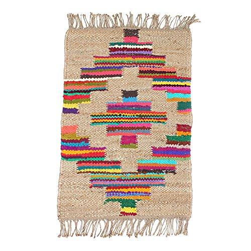 Tappeti bohemian tappeto sfrangiato creativo tessuti a mano jute tappetini di colore quadrato soggiorno camera da letto studio tavolino finestra tappeti lavabili, 65 cm * 105 cm