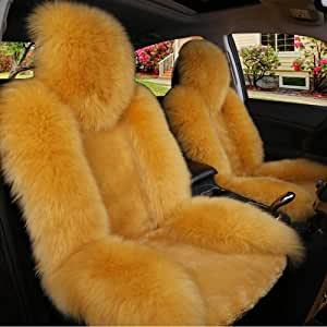 Zmcov Autositzauflage Lammfell Australische Wolle Sitzbezüge Auto Vordersitze Universal Warme Kompatible Airbags Für Die Meisten Autositz Sport Freizeit